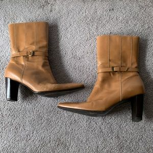 Nickels Leather Tan Brown Ankle Boots Size 7.5